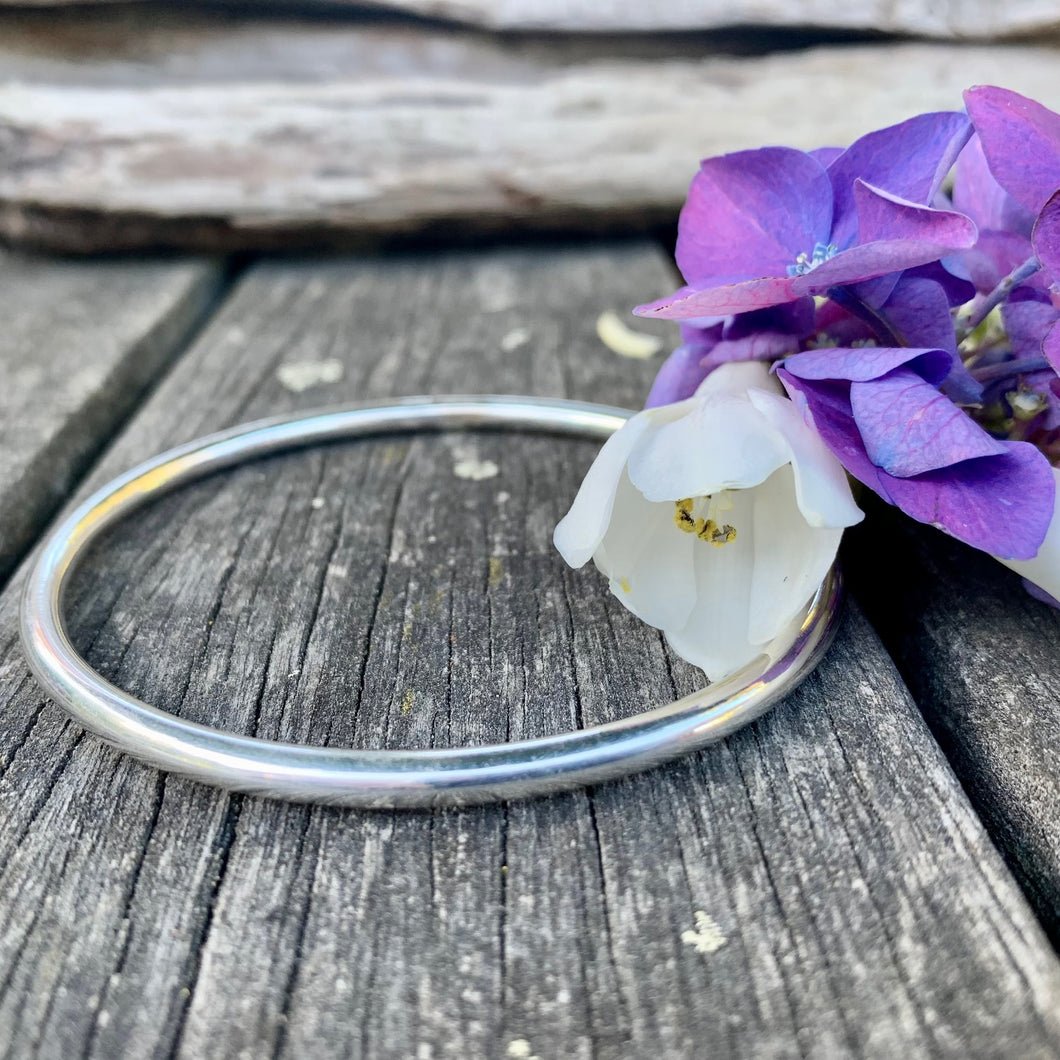 Solid Sterling Silver Smooth Bangle, 4mm, Rowena Watson Designs