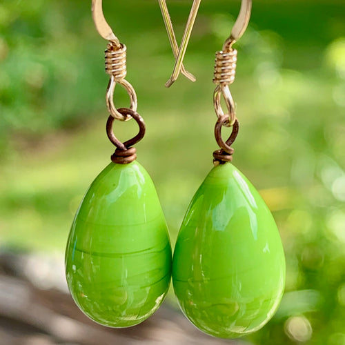Bright Green Venetian Glass Drop Earrings