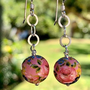 Opaque Pink Japanese Decal Bead Earrings, Rowena Watson Designs