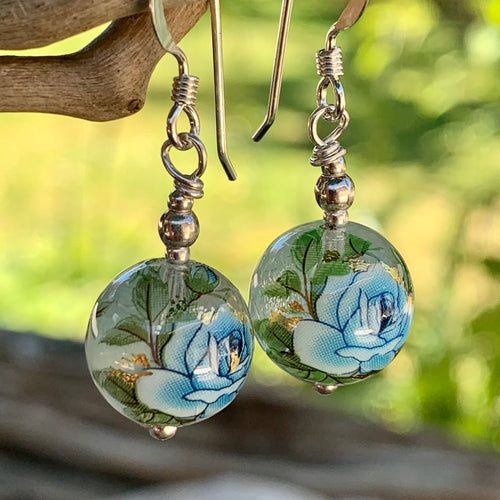 Clear and Blue Japanese Decal Bead Earrings, Rowena Watson Designs