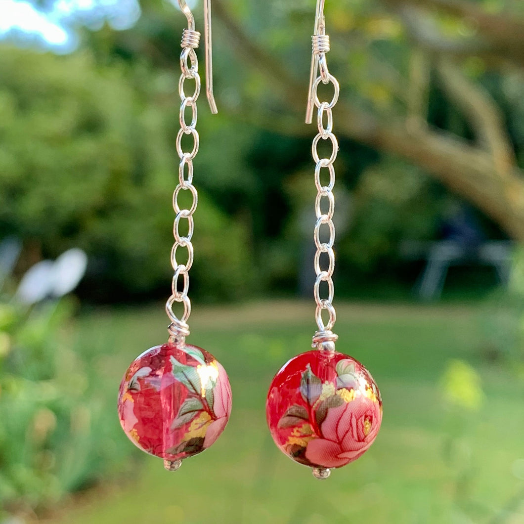 Small Pink Rose Japanese Decal Bead Earrings, Rowena Watson Designs