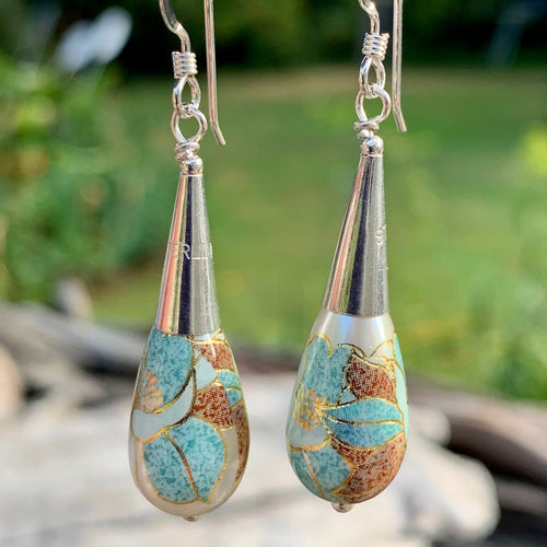 Blue & Gold Japanese Decal Bead Drop Earrings, Rowena Watson Designs