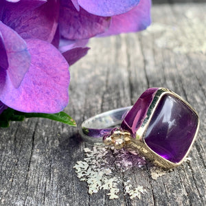 Square Amethyst in 9ct Gold and Sterling Silver Ring, Rowena Watson Designs