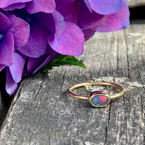 18ct Gold & Lightning Ridge Black Opal Ring, Rowena Watson Designs