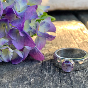 Heavy Beaten Sterling Silver & Amethyst Ring, Rowena Watson Designs