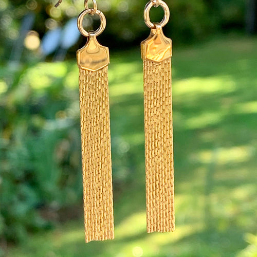 Yellow Gold Fill Tassel Earrings