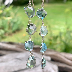 Four-Tiered Aquamarine & Prasiolite Earrings, Rowena Watson Designs