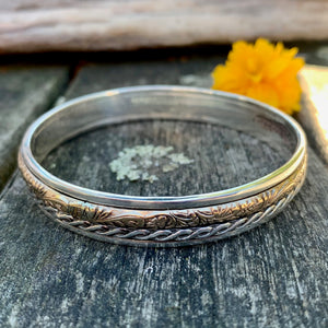 Textured Spinner Bangle, Sterling Silver and Gold Fill, Rowena Watson Designs