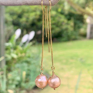 Natural Pink Freshwater Pearl on Yellow Gold Fill Ear Threads, Rowena Watson Designs