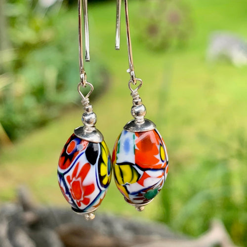 Vintage Venetian Millefiore Glass Earrings, Rowena Watson Designs