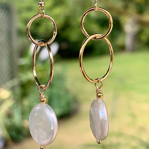 Natural White Coin Pearl and Yellow Gold Fill Earrings, Rowena Watson Designs