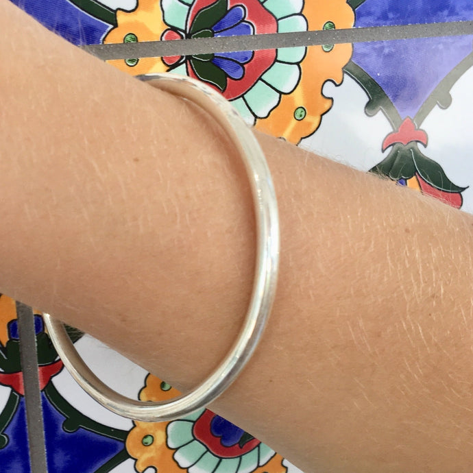 Solid Sterling Silver Smooth Bangle, Rowena Watson Designs