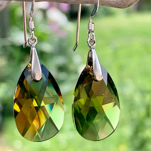 Swarovski Teardrop Earrings, Orange & Green