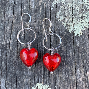 Red Ventian Foil Glass Heat Earrings, Rowena Watson Designs