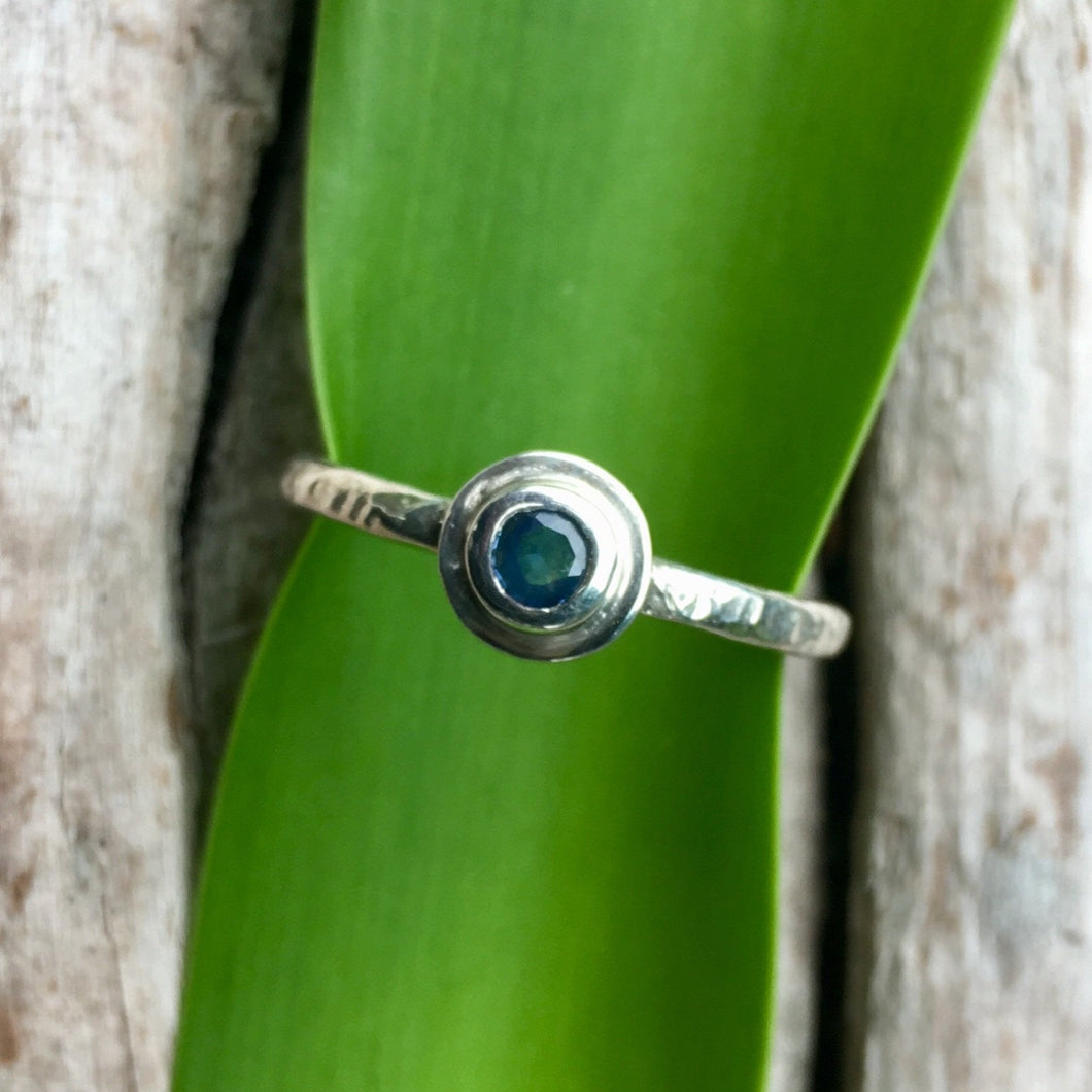 Ceylonese Sapphire with sterling silver ring. Rowena Watson Designs