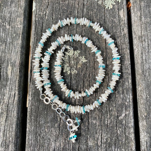 White Biwa Pearl Necklace with Brazilian Apatite, Rowena Watson Designs