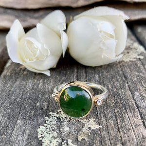 Marsden Flower Greenstone Ring with 0.02ct Diamond, Rowena Watson Designs