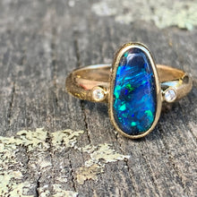 2 carat lightning ridge black opal ring with .04 carat diamonds and set in 9 carat yellow gold, Rowena Watson Designs