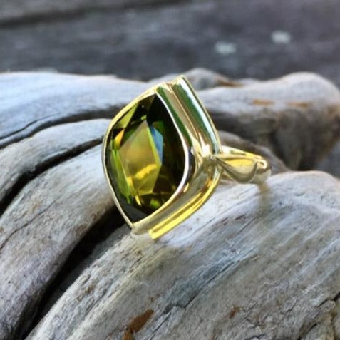 Beautiful Large Green Tourmaline Ring, 14ct Gold, Rowena Watson Designs