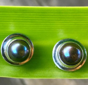 Peacock Fresh Water Pearl Stud Earrings, Rowena Watson Designs