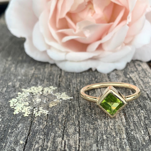 9ct Yellow Gold and Peridot Square Cut Ring, Rowena Watson Designs