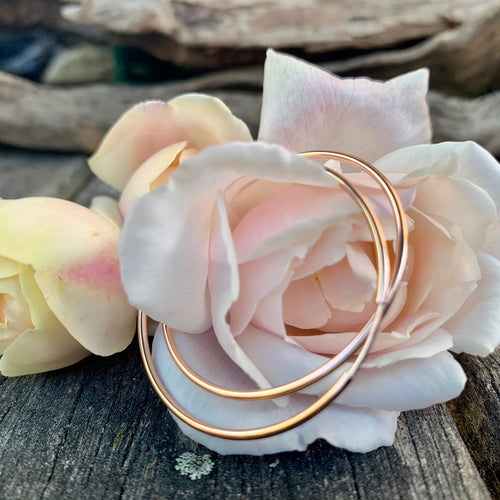 Rose Gold Fill Endless Hoop Earrings, 38.5 mm