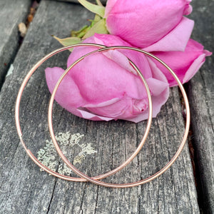 Rose Gold Fill Endless Hoop Earrings, 50.8mm