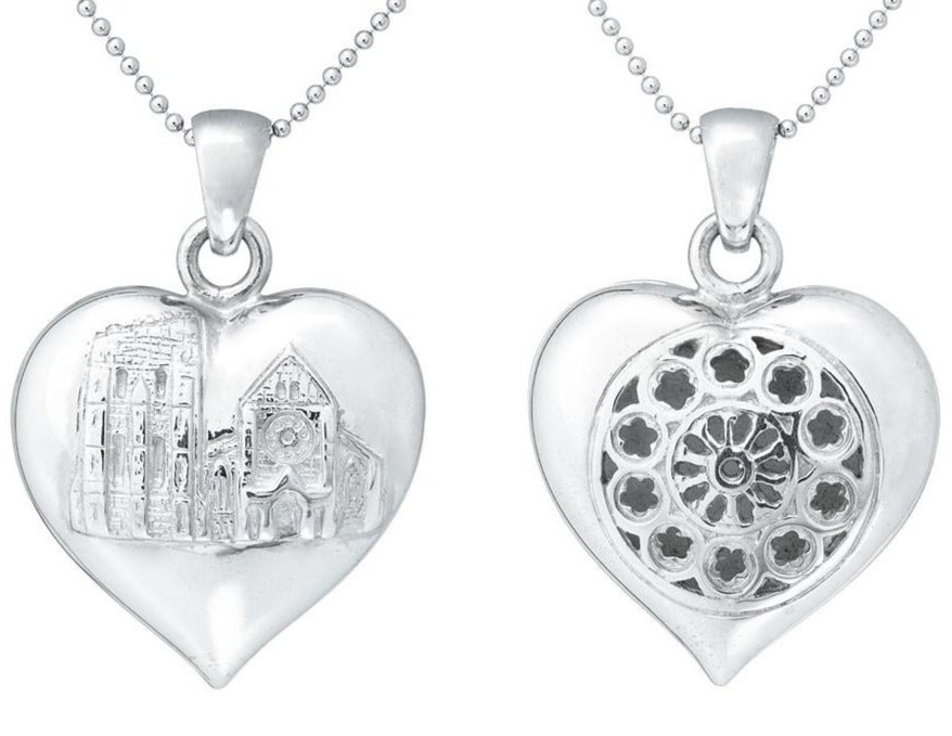 Rose Window Heart Puff Pendant, Rowena Watson Designs