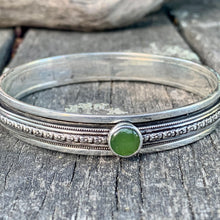 Sterling Silver Spinner Bangle with Marsden Flower Greenstone, Rowena Watson Designs