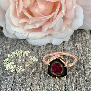 9ct Rose Gold and Watermelon Tourmaline Ring, Rowena Watson Designs