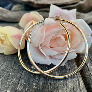 Yellow Gold Fill Hollow Hoop Earring, 49mm