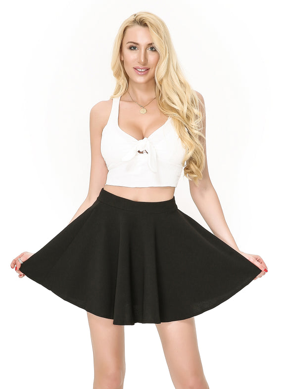 Moxeay A Line Pleated Flared Skater Skirt