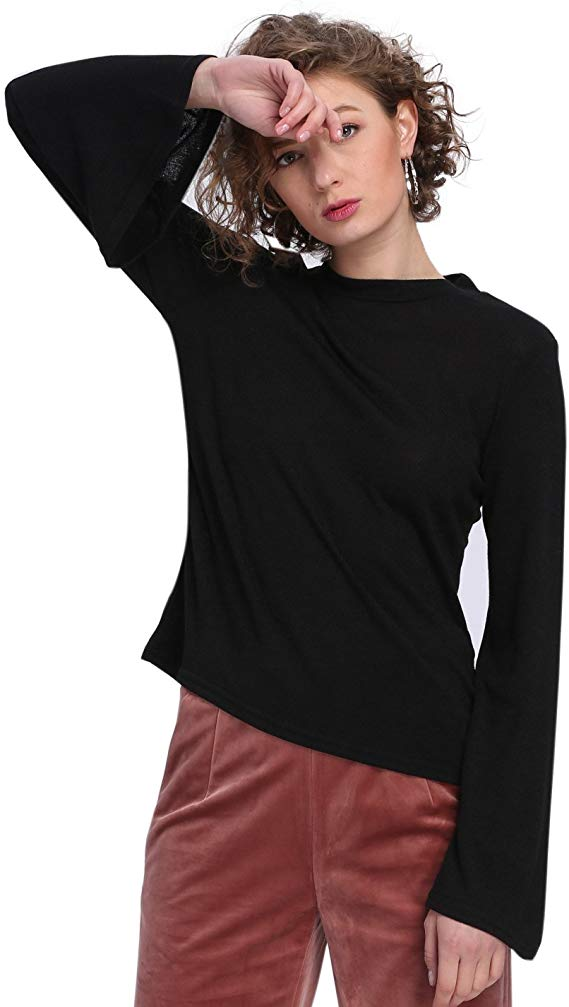 Butterfly Sleeve Crew Neck Blouse