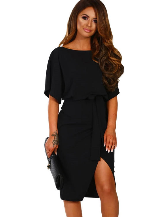 Short Sleeve Split Pencil Dress with Belt
