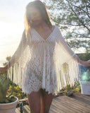 Lace Floral Mesh Hollow Fringe Cover Up