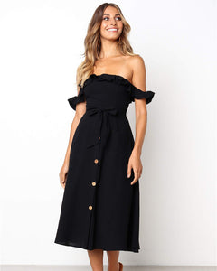 Ruffle Off The Shoulder Tie Waist Midi Dress