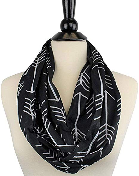 Arrow Print Infinity Scarf with Hidden Zipper Pocket