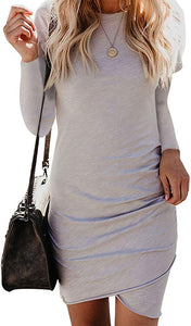 Irregular Hem Ruched Bodycon Mini Dress