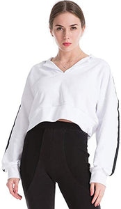 Drop Shoulder Crop Top Hoodie