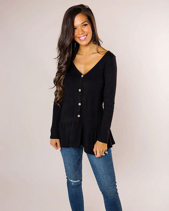 Ruffle Hem Tunic Blouse with Buttons