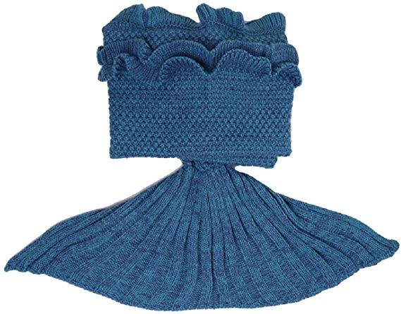 Ruffle Knitted Mermaid Tail Blanket for Adults
