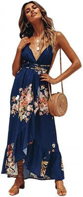 Floral Spaghetti Strap Backless Maxi Dress