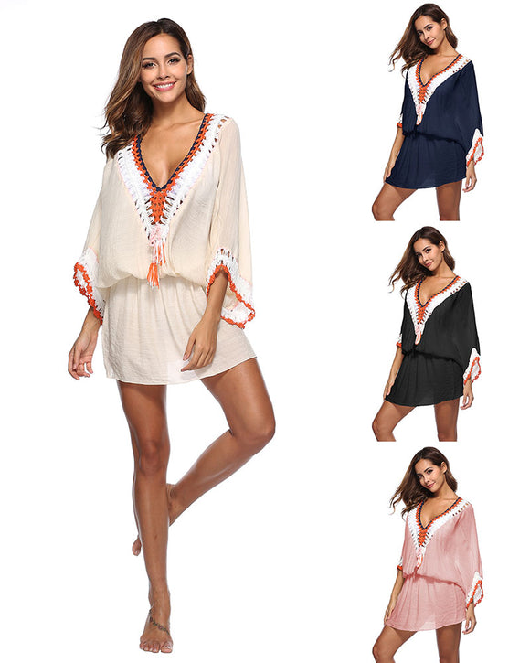 Pom Pom Trim Kaftan Tunic Cover up Swimsuit