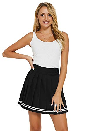 Pleated Skater Mini Uniform Skirt