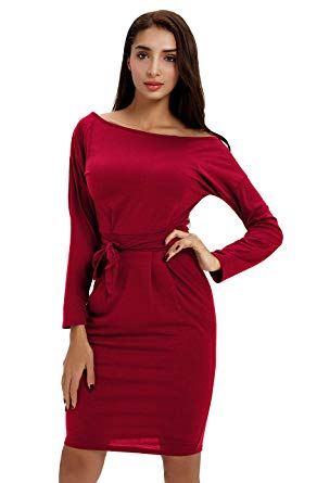Office Midi Pencil Dress with Belt