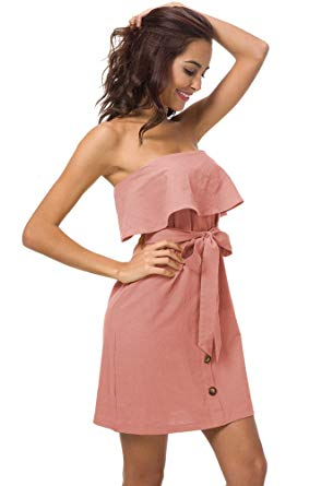 Ruffle Strapless Mini Dress with Belt