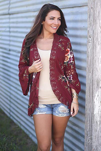 Flare Sleeve Lace Floral Print Cardigans