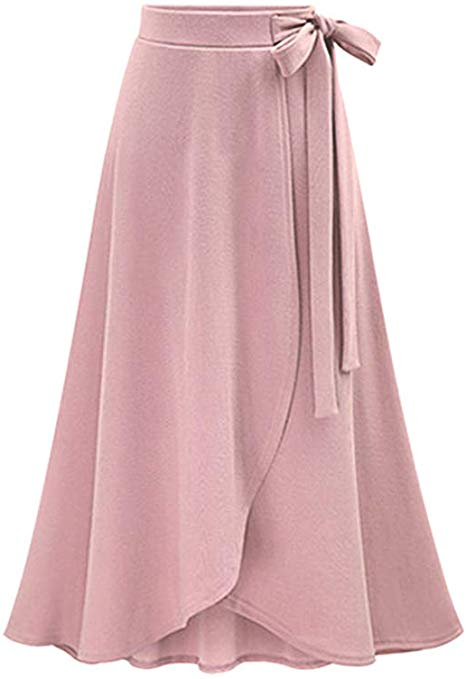 High Waisted Bow Knot Flare Midi Skirt