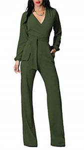 High Waist Wide Leg Jumpsuit with Belted
