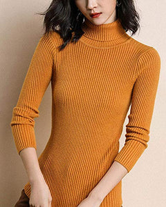 Ribbed Turtleneck Sweater For Women